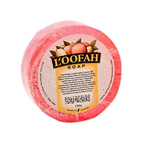 Saltspring Soapworks All Natural Loofah Soap, Pink Grapefruit, 4.5 (Soap And Loofah)