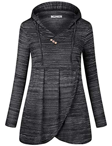 SeSe Code Hoodies for Women Pullover Sweatshirt Long Sleeve Shirt Loose Fitted Cool Fall Clothes Pleated Front Heather Tunics for Leggings Black Medium