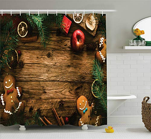 Ambesonne Christmas Decorations Collection, Gingerbread Man Gift Box Image Pine Cinnamon Dessert on Rustic Wood Xmas Themed, Polyester Fabric Bathroom Shower Curtain Set with Hooks, Brown Green