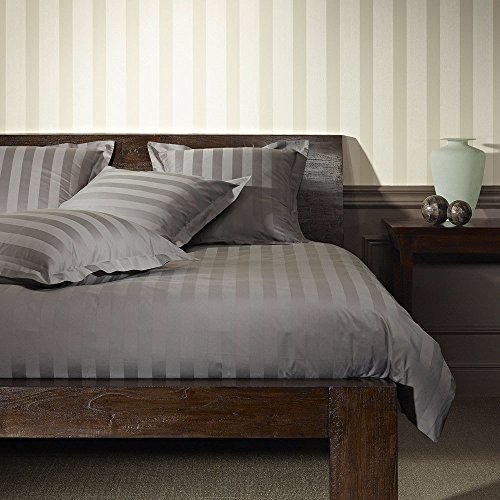 Bettwaren-Shop Uni Mako-Satin Streifen Bettwäsche grau Kissenbezug einzeln 40x80 cm