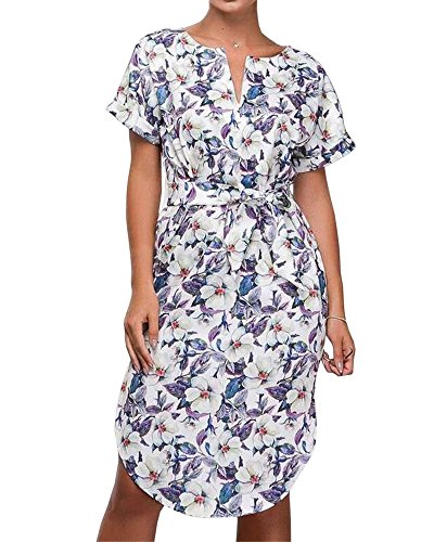 Ivay Womens Summer Short Sleeve Dresses for Work Office V Neck Floral Dress with ()