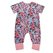 BELS Newborn Baby Girl Floral Printed Romper Outfits Sleeveless Summer Bodysuit (70/0-6 Month, Gray Floral Printed)