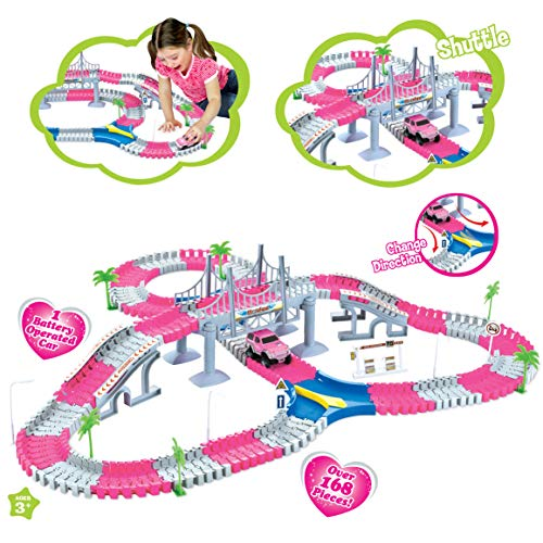 Liberty Imports Create A Road Super Snap Speedway | Magic Journey Flexible Track Set | Ideal Gift Toy for Toddlers, Kids, Boys, and Girls (Princess Pink (168 Pcs))