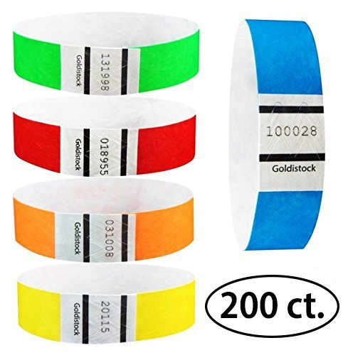 "Goldistock 3/4"" Tyvek Wristbands Rainbow 200 Ct. Variety Pac"