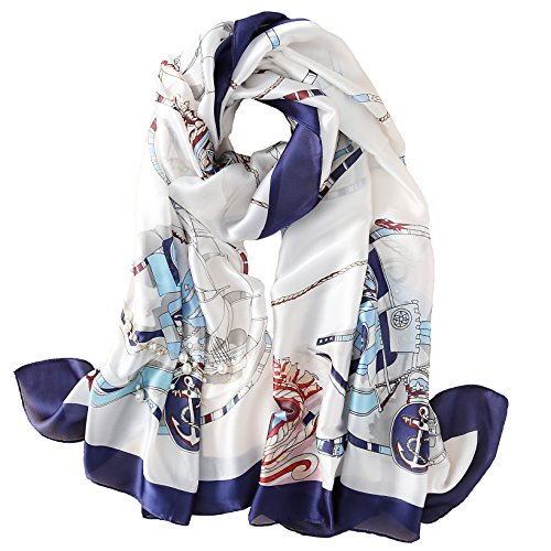 100% Silk Scarf Summer Women's Fashion Printed Large Headscarf Lady's Lightweight Floral Satin Shawl in Evening Mother's Day Gift (102#)