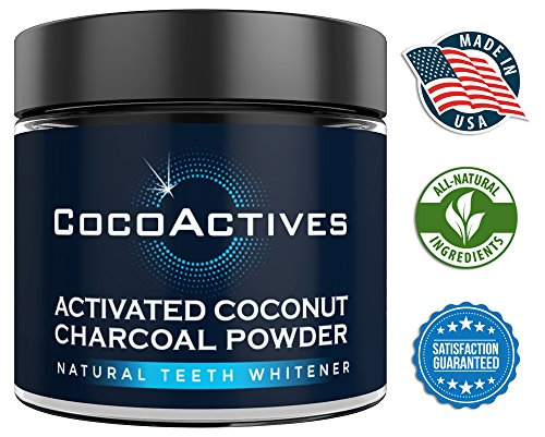 Activated Charcoal Teeth Whitening Powder - by CocoActives - All Natural Tooth Whitener, Organic Coconut Charcoal - Removes Stains, Fluoride Free, Non-GMO, Made in USA - Mint Flavor ()