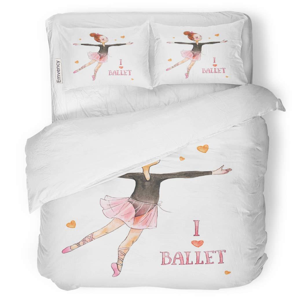 SanChic Duvet Cover Set Watercolor Small Ballerina I Love Ballet Girls Dance Decorative Bedding Set with Pillow Sham Twin Size