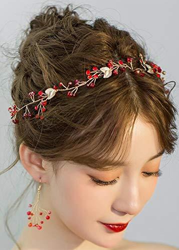 Missgrace Bridal Crystal Red Leaf Hair Vine and Earrings Wedding Vintage Headband Birthday Crown Women Party Halloween Hair Accessories Wedding Hair Jewelry Bridal Hair Accessories ()