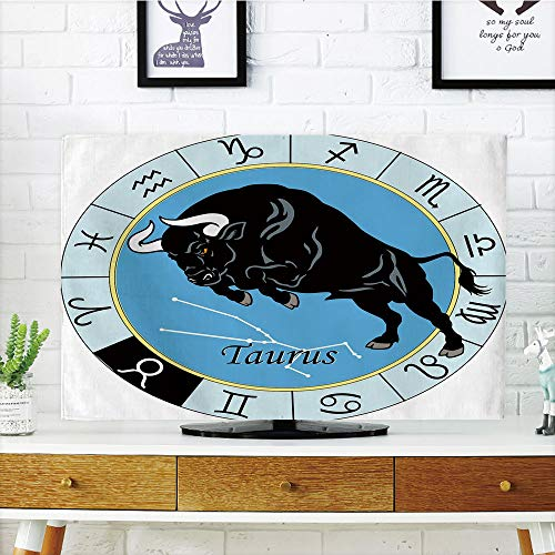 LCD TV dust Cover,Taurus,Zodiac Calendar with Bull Inside Celestial Creature Character Esoteric Print,Light Blue Black,3D Print Design Compatible 47