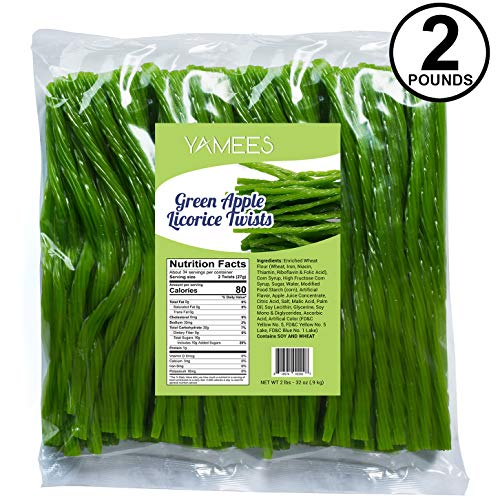 Licorice Candy – 2LBs - Green Apple Licorice Twists – Apple Licorice - Green Candy – Gourmet Licorice Twists - Bulk -