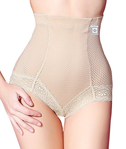 High Waist Tummy Control Body Shaper Briefs Slimming Pants (L, Beige (Hi-Compression))