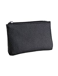 Micom Small Genuine Leather Zipper Wallet Change Coin Purse with Key Ring (Black)