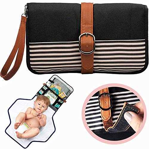 (Portable Changing Pad Diaper Clutch - Waterproof Portable Changing Station Includes Baby Wipes Holder and Extra Pockets- Travel Changing Mat Folds Into a Small Diaper Bag Purse with Shoulder Strap )