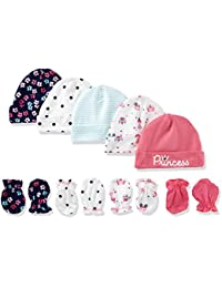 Baby Girls Pack Of 5 Caps and 4 Pair Mittens
