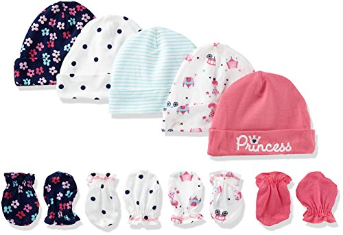 gerber-baby-girls-pack-of-5-4-pair-princess-cap-0-6m-mitten-0-3m