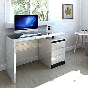 White High Gloss Pc Computer Desk Black Glass Top 3
