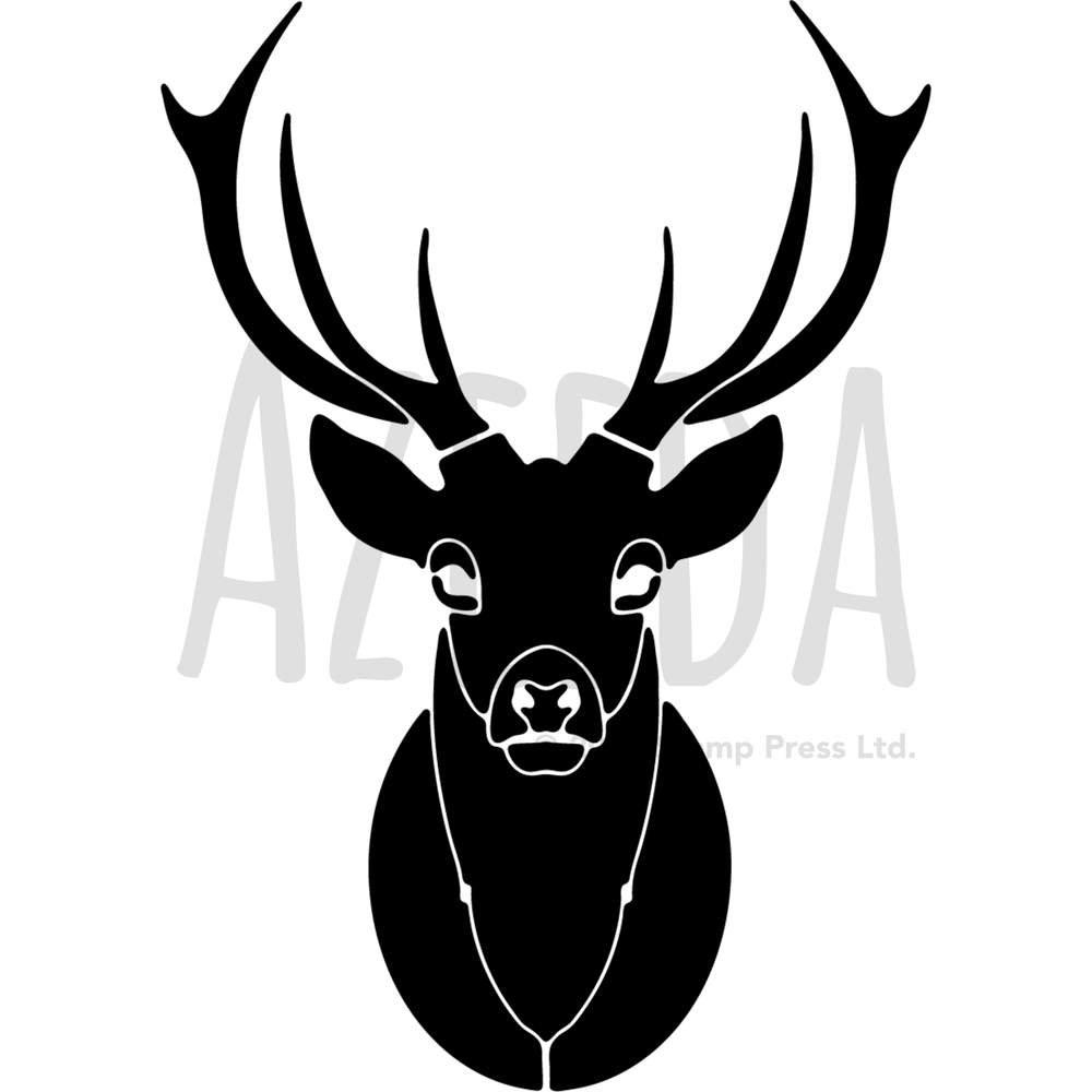 Azeeda A3 'Black Stag Head' Wall Stencil / Template (WS00008792)