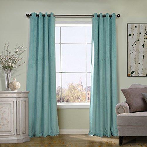(COFTY Super Soft Solid Matt Velvet Curtain Drapes Blackout Aqua Mist 50Wx63L Inch(set of 2 Panels) - Nickle Grommet)