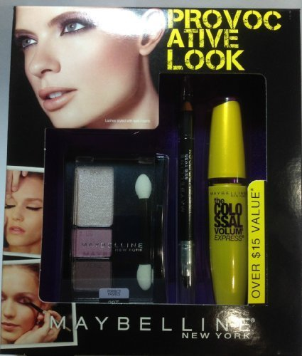 Maybelline the Provocative Look the Colossal Mascara (Glam Black ) + Eyeliner ( Ebony Black ) + Eye Shadow Trio ( Crown Jewels ) Set. by N/A