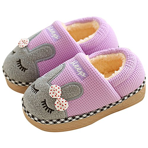 SITAILE Cute Home Shoes, Kids Fur Lined Indoor House Slipper