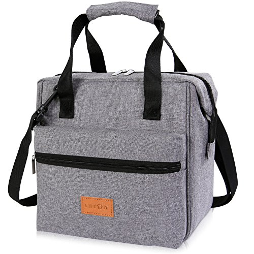Lifewit 10L Insulated Lunch Box Bag for Adults Kids Men Women, 3-Way Carrying Thermal Bento Bag Cooler Bag for Work/School/Picnic, Grey