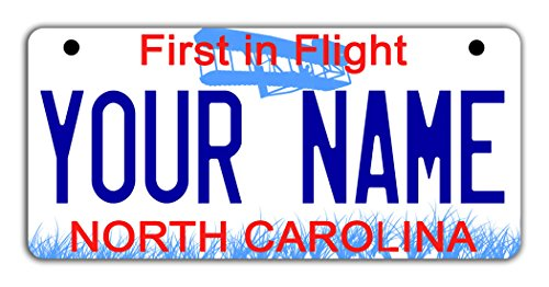 - BleuReign(TM Personalized Custom Name North Carolina State Motorcycle Moped Golf Cart License Plate Auto Tag