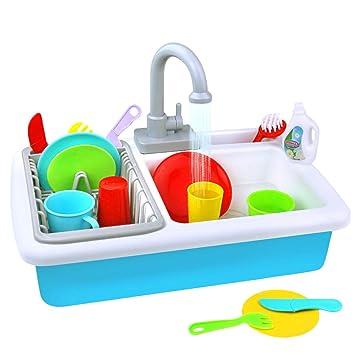 yoptote Küche Rollenspiele Küchen Zubehör Kinder Spielzeug Geschirrspüler  Pädagogisches Spülmaschine Set für Jungen Mädchen ab 3 4 5 6 Jahre