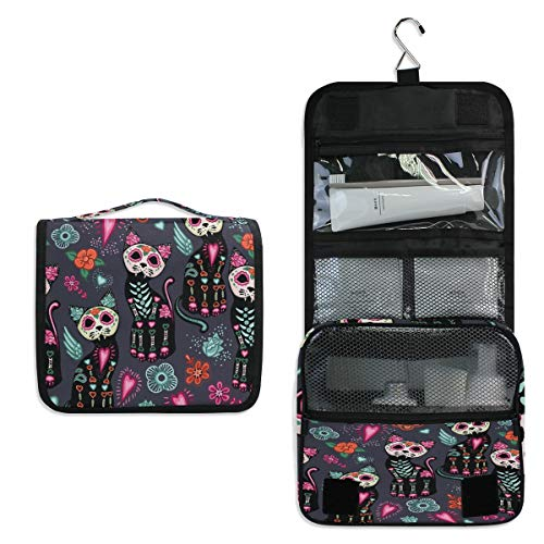 AUUXVA Travel Hanging Toiletry Bag Colorful Cartoon Cat Skull Print Cute Portable Cosmetic Make up Bag case Organizer Wash Gargle Bag Waterproof with Hook for Women Men for Cosmetics and Toilet Acces -