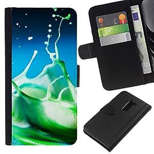 JackGot ( Water Drop Color Splash ) LG G2 D800 la tarjeta de Crédito Slots PU Funda de cuero Monedero caso cubierta de piel