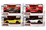 NEW 1/32 W/B JADA METALS - JDM TUNERS COLLECTION - 2002 Honda NSX Type-R Japan Spec (4 Color Styles) Diecast Model Car Set of 4 Cars By Jada Toys