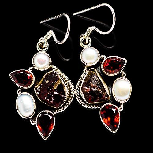 "Ana Silver Co Rough Garnet, Cultured Pearl 925 Sterling Silver Earrings 1 3/4"" - Handmade Jewelry, Bohemian, Vintage EARR381301 from Ana Silver"