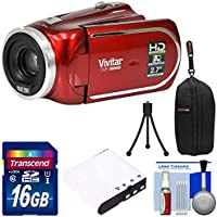 Vivitar DVR 960HD 1080p HD 12x Optical Zoom Video Camera Camcorder (Red) with 16GB Card + Battery + Case + Tripod Kit