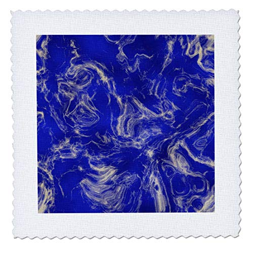 3dRose Andrea Haase Abstract Art and Design - Blue Marbled Paint - 25x25 inch Quilt Square - Design Fabric Marbled Surface