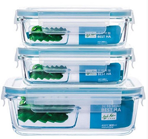 - Heat-resistant Glass Three-piece Crisper Oven Microwave Refrigerator Suitable For Lunch Boxes