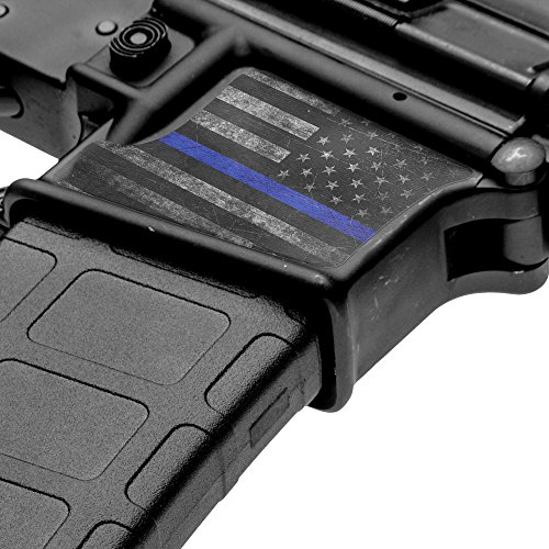 GunSkins Magwell Skin Specialty Vinyl Decal for AR-15/M4 Lower Receivers (GS Thin Blue Line)