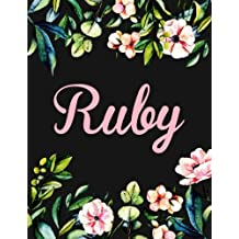 Ruby: Personalised Ruby Notebook/Journal For Writing 100 Lined Pages (Black Floral Design)