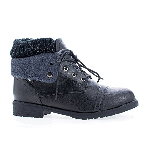 Knitted Faux Wool Round Collar Up Toe Pu Shaft amp; Boots Ankle Black Lace RHnxBR4WwT