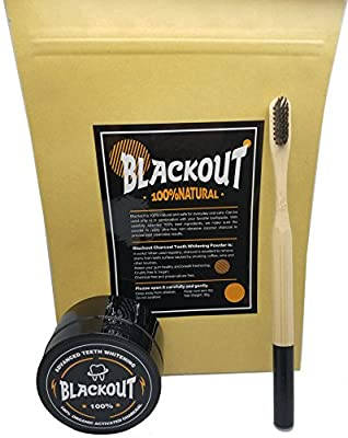Blackout Activated Charcoal Teeth Whitening Powder and Bamboo Charcoal Head toothbrush. FDA Approved. Made from Pure Coconut Shells. Eliminate bad breath and stains from food, wine, and smoking. (30g)