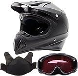Adult Snocross Snowmobile Helmet & Goggle Combo - Matte Black (XXL)