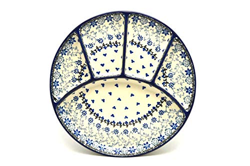 (Polish Pottery Dish - Divided Appetizer - Silver Lace)