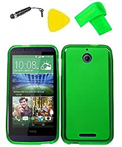 Tpu Phone Cover Case Cell Phone Accessory + Extreme Band + Stylus Pen + Yellow Pry Tool For Htc Desire 510 (Tpu Skin Green)