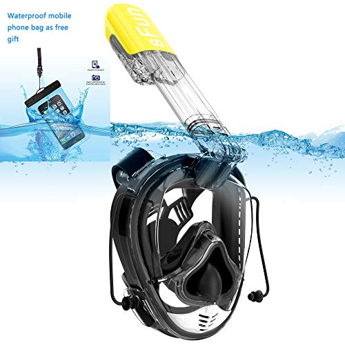 Snorkeling Mask Full Face Snorkel Mask Anti Fog for Adult Kids Diving Snorkeling Scuba Swimming (Black&Yellow)