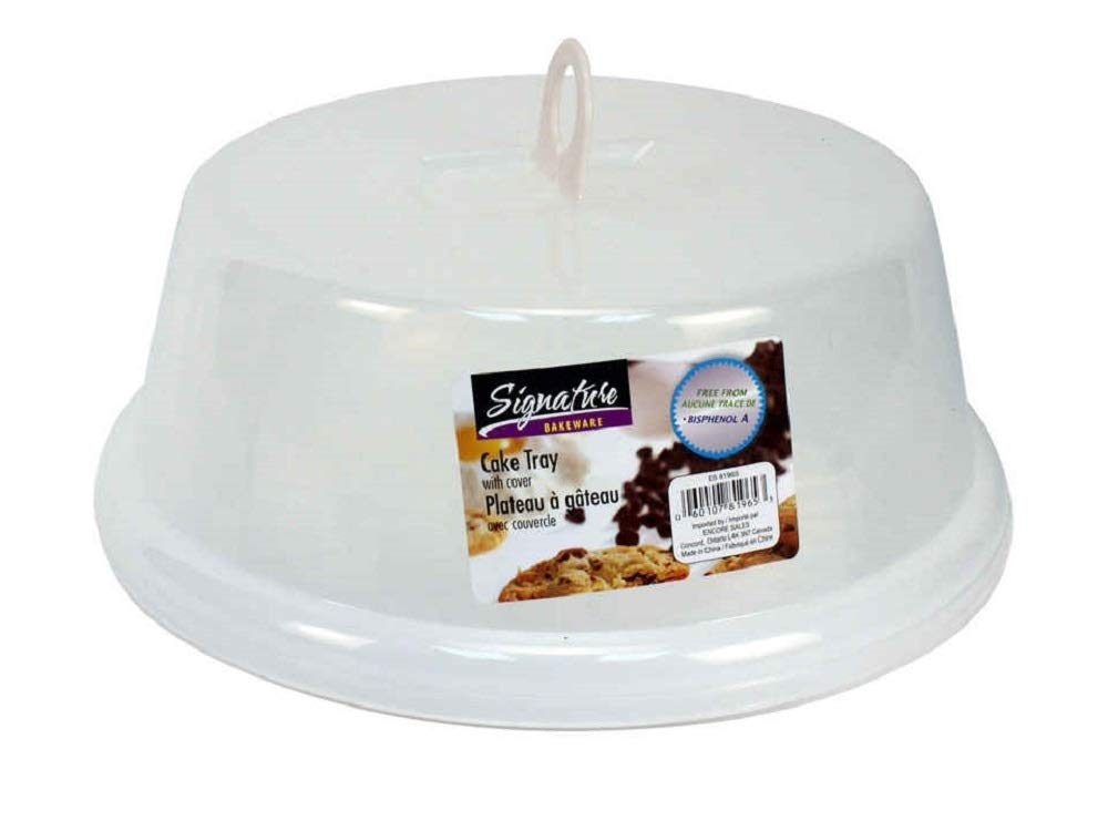 Plastic Cake Tray with Cover 12 Inches in Diameter and 5 Inches in Height