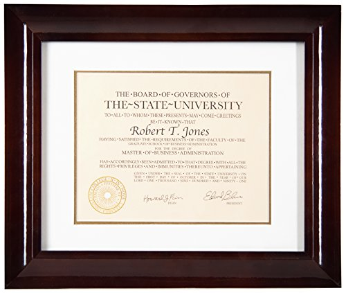 Artcare Hampton Collection Archival Quality 12 by 15-Inch Walnut Glazed Wood Document Frame Matted to 8-1/2 by 11-Inch