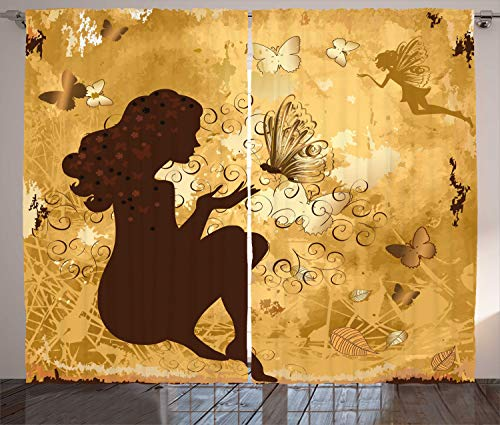 """Ambesonne Brown Curtains, Grunge Fairy Girl Silhouette with Butterflies Leaves Blooms and Angel, Living Room Bedroom Window Drapes 2 Panel Set, 108"""" X 63"""", Coffee Brown"""