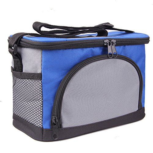 JINIU Insulated Soft Cooler 6 Can Foldable Lunch Bag for Work with Shoulder Strap for Men Women Adults and Kids Blue