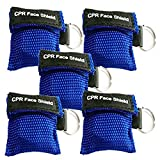 Product review for Pack of 5pcs CPR Mask Keychain Ring Emergency Kit Rescue Face Shields with One-way Valve Breathing Barrier for First Aid or AED Training (Blue)