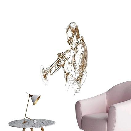 Amazon com: Vinyl Artwork Jazz Man Play Trumpet Pose Sketch Style