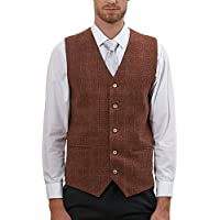 Hanayome Men's British Style Slim Fit Chain Point 4 Button Patry Dress Vest VS09