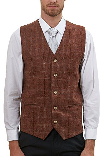 Hanayome Men's 4 Button Collar Vest Green Exclusive Design Suit Tux Vests VS57 (Brown, XL) (Design Cotton Suit)